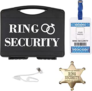 Ring Bearer Gifts Set, Ring Security Box with Top Secret Spy Ear Piece, Metal Ring Security Badge, Wedding Ring Security I...