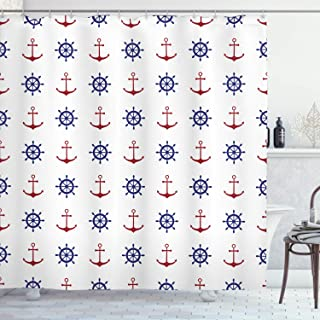 Ambesonne Anchor Shower Curtain, Maritime Design Anchors and Ship Wheels on The White Background Art Print, Cloth Fabric Bathroom Decor Set with Hooks, 75
