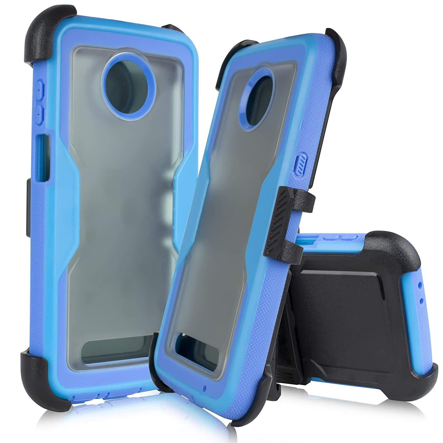 Compatible for Motorola Moto Z3 Play, Z Play 3rd Generation 2018 Release (XT1929) Full Body Rugged Holster Explorer Tough Armor Case with 360 Swivel Clip & Built in Screen Protector (Blue)