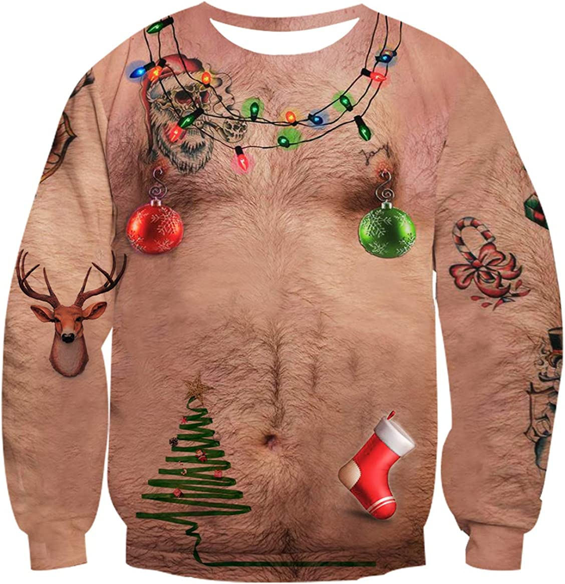 uideazone Men Women Funny Ugly Sweatshirts New life Christmas Genuine Digital 3D