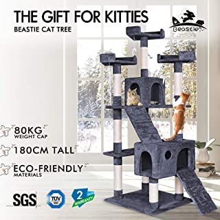BEASTIE Cat Tree Scratching Post Scratcher Tower Condo House Furniture Wood 180 Grey Colour
