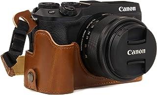 MegaGear Ever Ready Leder Kamera Halbtasche mit Trageriemen kompatibel mit Canon EOS M6 Mark II