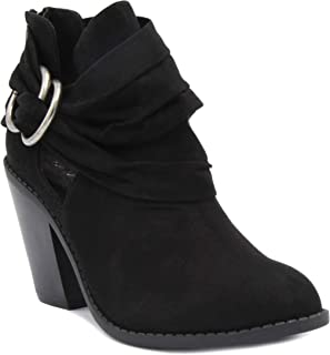 Sugar Women's Victory Transitional Dress Block Heel Ankle Boot Ladies Slouch Bootie with Open Ankle
