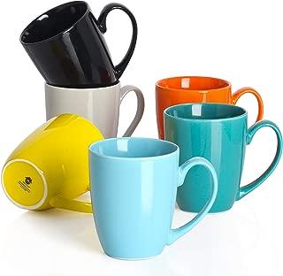 DOWAN Coffee Mugs Set of 6 Tea Cups 14 Ounces Large Handle Mugs for Cocoa, Tea, Women, Men (New Porcelain)