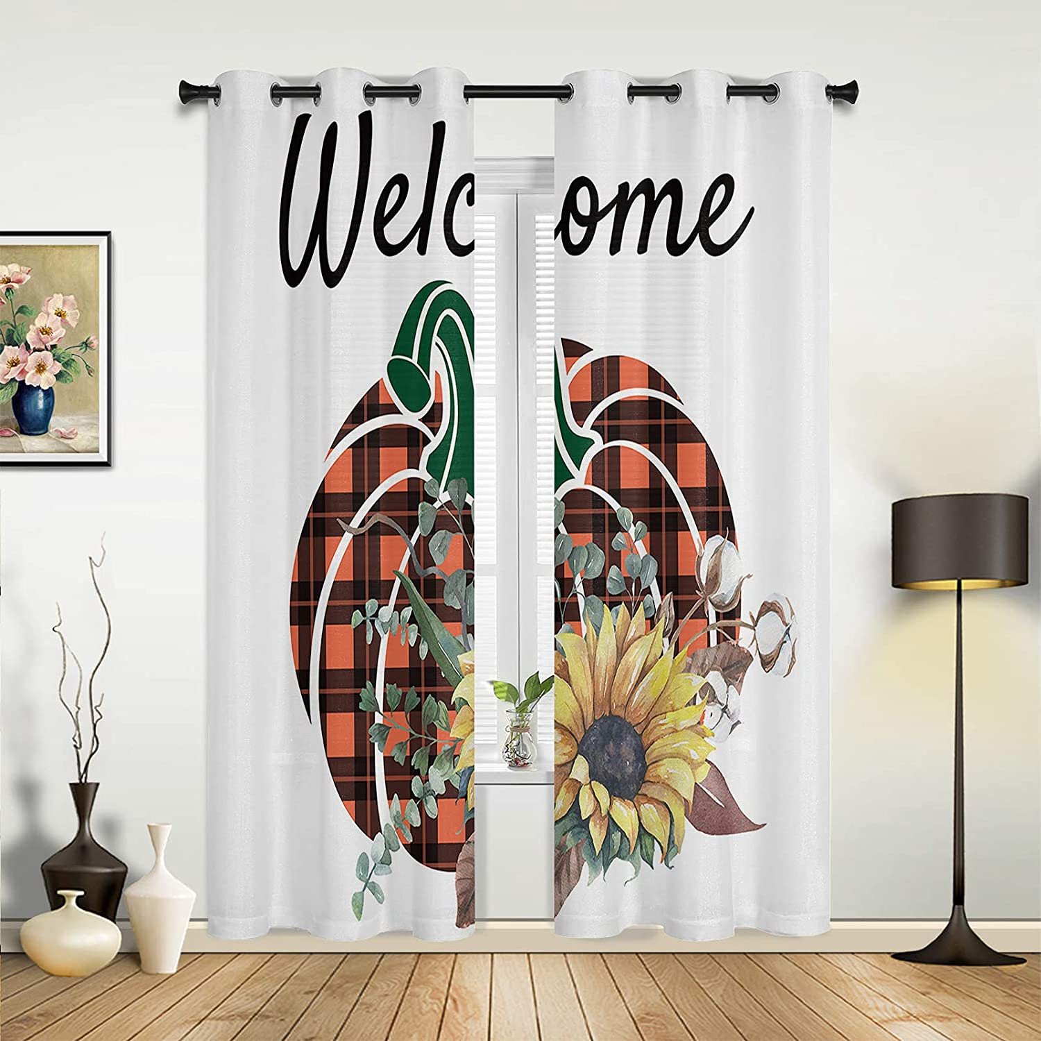 Window Sheer Curtains for Bedroom Quantity limited safety Room Living Thanksgivi Welcome