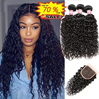WENYU Brazilian Water Wave Human Hair 3 Bundles with 4x4 Lace Closure Water Wave Wet and Wavy Deep Wave Kinkly Curly Bundles with Closure(Water 10 12 14+10 Closure, Water Wave Bundles with Closure)