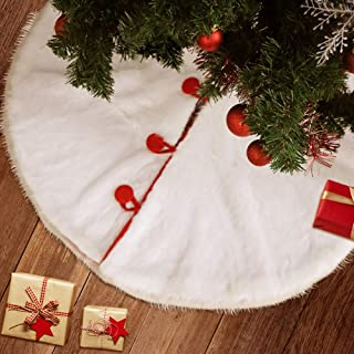 KERIQI Faux Fur White Christmas Tree Skirt with Red Trim and Matching Button, 48 inches Furry Tree Skirt Elegant Decorations for Xmas Home New Year Party Decor Pet Favors