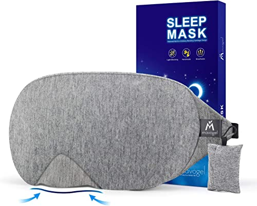 Cotton Sleep Eye Mask - 2018 New Design Light Blocking Sleep Mask, Includes Travel Pouch, Soft, Comfortable, Blindfol...