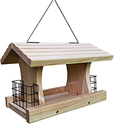 Gray Bunny Deluxe Hopper Feeder with 2 Suet Cages, Solid Wood Large Wild Bird Feeder, Hanging Birdfeeder for Attracting Jays, Cardinals, Woodpeckers and More!