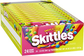 All American Skittles, Sweets & Sours, 2.0 Oz (Pack of 24) New Flavor!