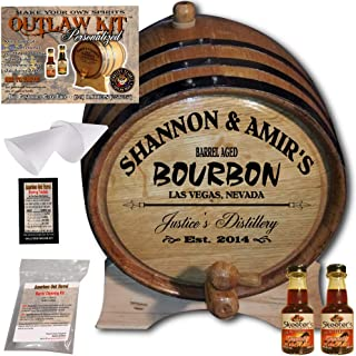 Personalized Whiskey Making Kit (062) - Create Your Own Kentucky Bourbon Whiskey - The Outlaw Kit from Skeeter's Reserve Outlaw Gear - MADE BY American Oak Barrel - (Oak, Black Hoops, 2 Liter)