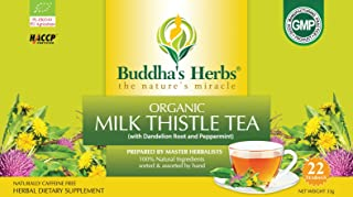 Buddha's Herbs Premium Organic Milk Thistle Tea with Dandelion Root (Pack of 4)(88 Tea bags)