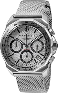 Perry Ellis Mens Watch Decagon GT 44mm Quartz Chronograph Watch with Stainless Steel Band Waterproof