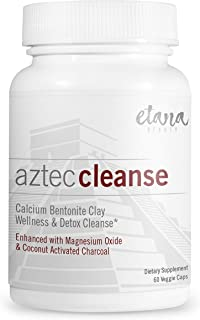 Aztec Cleanse by Etana Beauty – 60 vcaps – Professionally Formulated Detox Support & Wellness Cleanse – Enhanced with Calcium Bentonite Clay, Organic Coconut Activated Charcoal & Magnesium Oxide