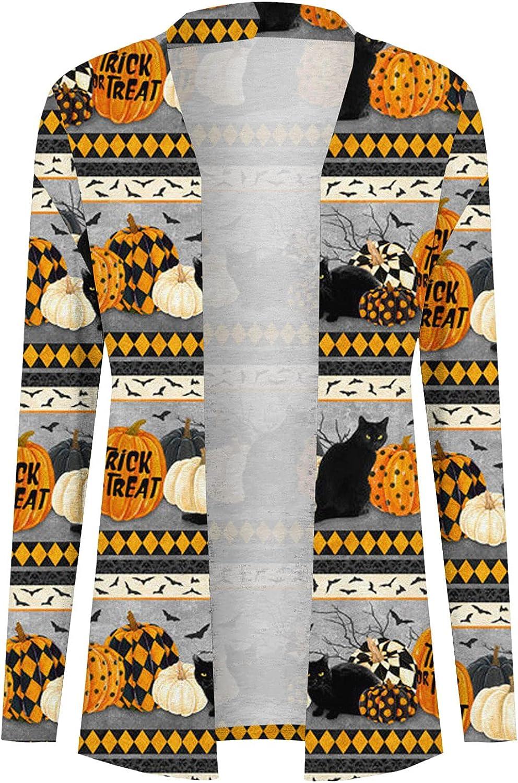 Toeava Women's Open Front Cardigan Shirt Halloween Animal Pumpkin Graphic Long Sleeve Sweatshirt Coat Kimono for Women