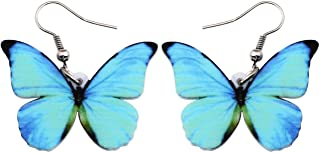 Bonsny Drop Dangle Big Morpho Menelaus Butterfly Earrings Fashion Insect Jewelry For Women Girls