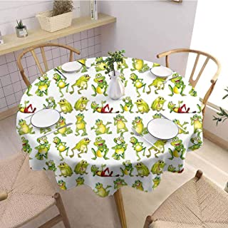 DILITECK Nursery Decorative Round Tablecloth Frogs in Different Positions Funny Happy Cute Expressions Faces Toads Cartoon Fabric Tablecloth D50 Green Yellow Red