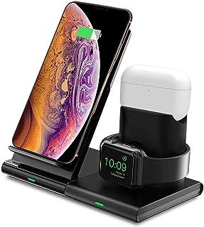 Hoidokly Cargador Inalámbrico, 3 en 1 Soporte de Carga para iPhone y Apple Watch, Base de Carga Rápida para iWatch 2/3/4/...
