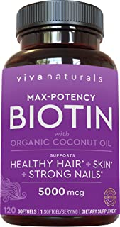 Biotin 5000mcg - Support for Healthy Hair Skin Nails, High Potency Biotin Made with Organic Coconut Oil, 120 softgels
