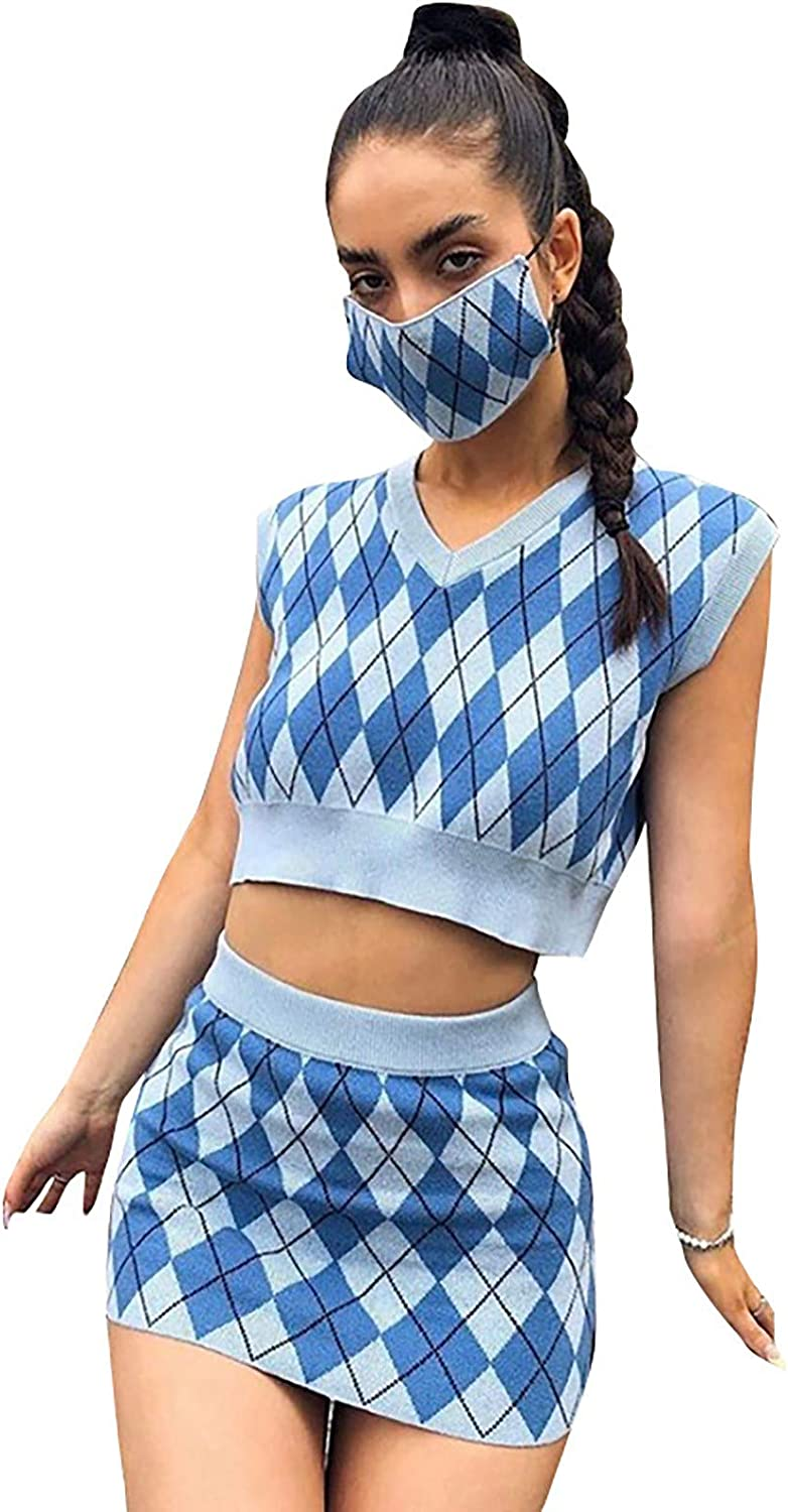 Women Sleeveless Argyle Plaid Knitted Sweater Vest + Wrapped Hips Skirt Geometry Graphic Tracksuits Sets