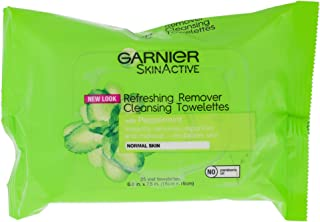 Clean Refreshing Remover Cleansing Towelettes by Garnier for Unisex - 25 Count Towelettes