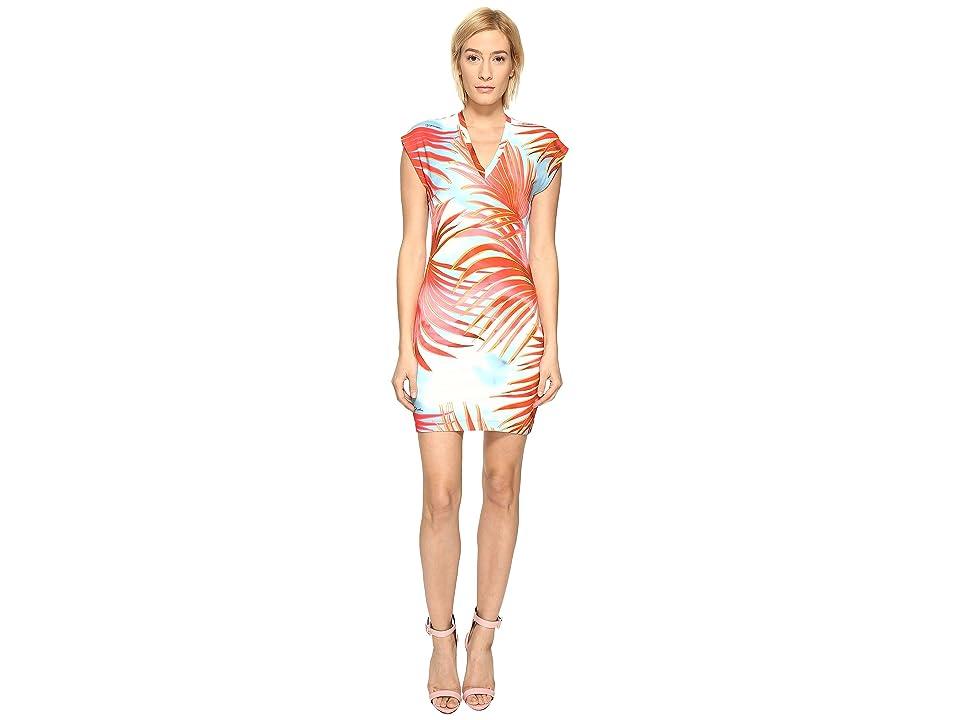 Just Cavalli Palm Print Fitted Short Sleeve Dress (Fire Variant) Women