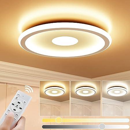 Plafonnier LED 24W GolWof Rond Lampe de Plafond 3000K-6000K Dimmable Luminaire Plafonnier Moderne Mince Luminaire Intérieur Applicable à Salle de Cuisine Salon Balcon Bureau Garage 30*30*5CM