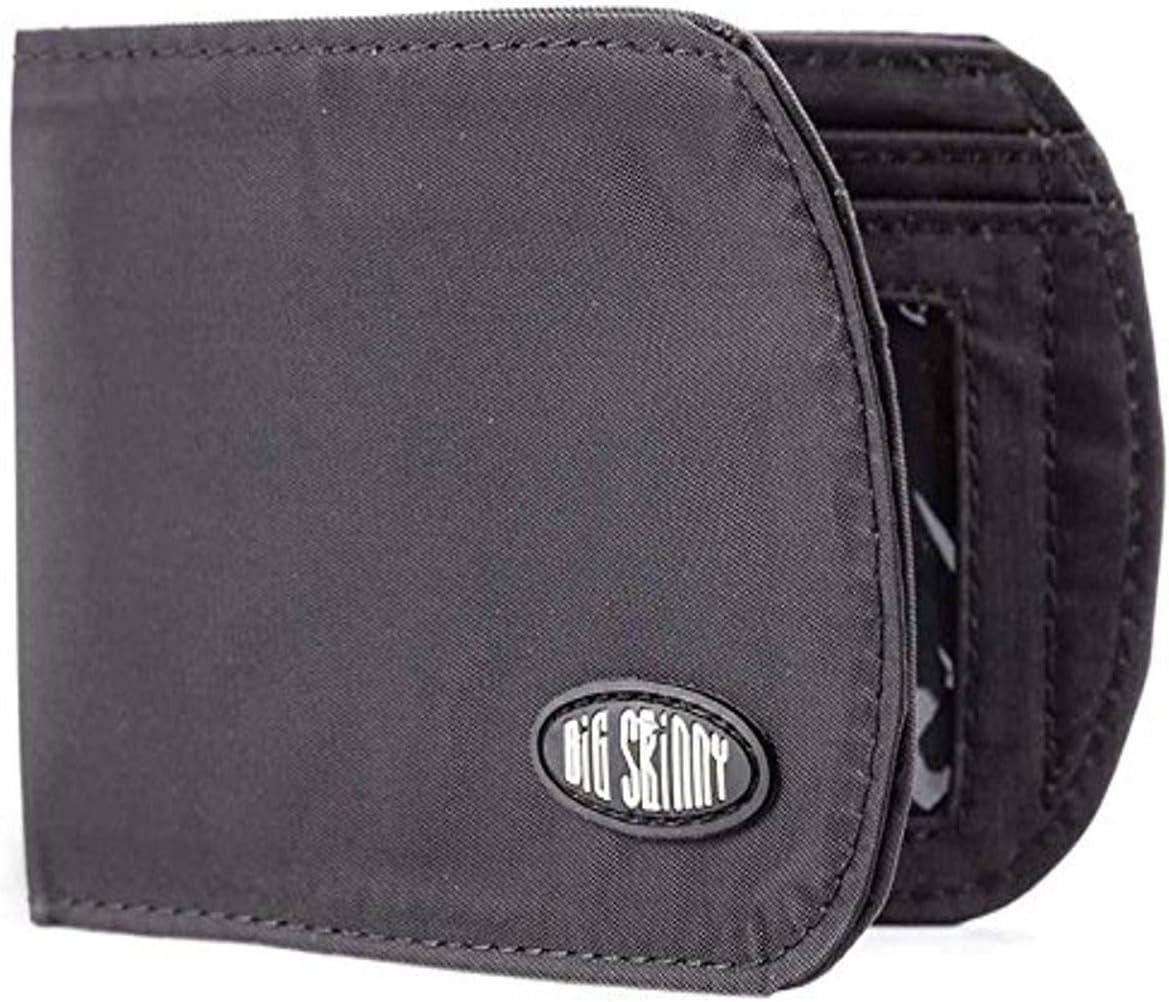 Big Skinny Men's RFID Blocking Curve Bi-Fold Slim Wallet, Holds Up to 20 Cards, Black