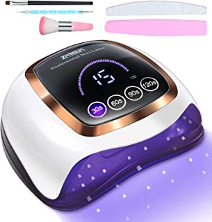 چراغ ناخن UV Led ، ژل خشک کن ناخن ZMteam 168W نور UV برای ناخن ها خشک شدن سریع ، لامپ پخت لاک ناخن حرفه ای با صفحه نمایش سنسور هوشمند 4 و تایمر LCD ، کیت مانیکور ژل با نور UV