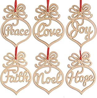 i4sweet Wood Christmas Ornaments Set of 24 Xmas Hanging Decorations Peace/Joy/Faith/Noel/Love/Hope Assortment for Christmas Decor