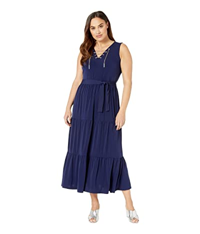 MICHAEL Michael Kors Plus Size Chain Lace-Up Maxi Dress (True Navy) Women
