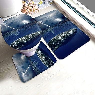Juego de alfombras de baño RedBeans antideslizantes de 3 piezas de franela para baño, juego de alfombras de baño de tormenta