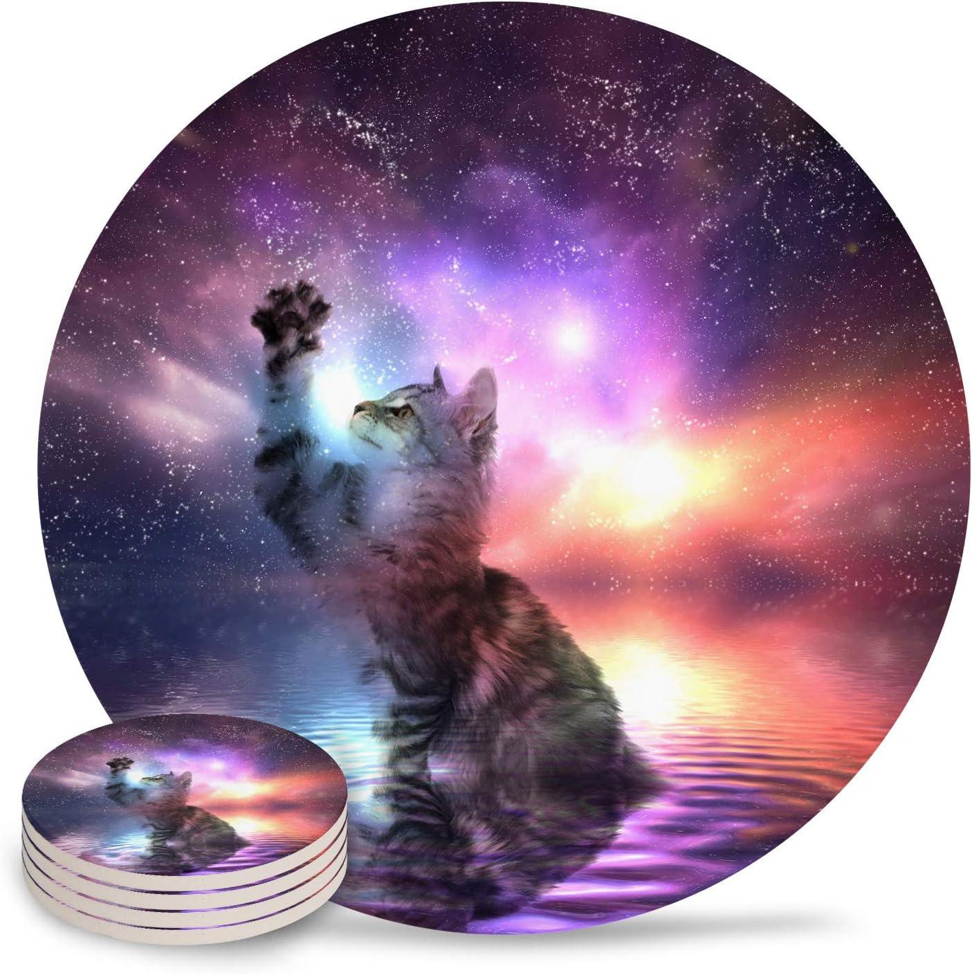 Drink Coasters Fantasy Inexpensive Pet Cat Absorbent Coaster Ceramic w Stone Las Vegas Mall