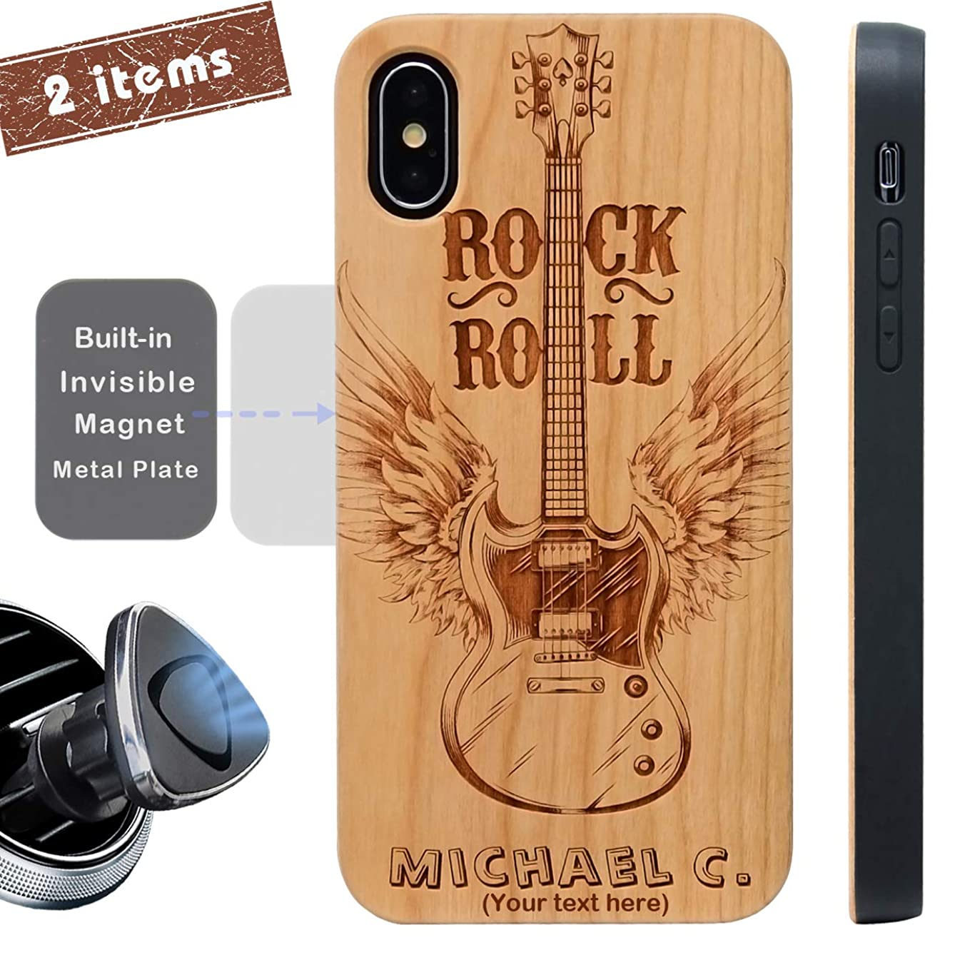 iProductsUS Wood Phone Case Compatible with iPhone Xs, X and Magnetic Mount-Protective Cases Engraved Unique Guitar and Your Name,Built-in Metal Plate,TPU Rubber Shockproof Covers for iPhone 10/X, Xs