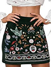 Simplee Women's Bodycon Luxury Floral Embroidery Boho High Waist Pencil Skirts
