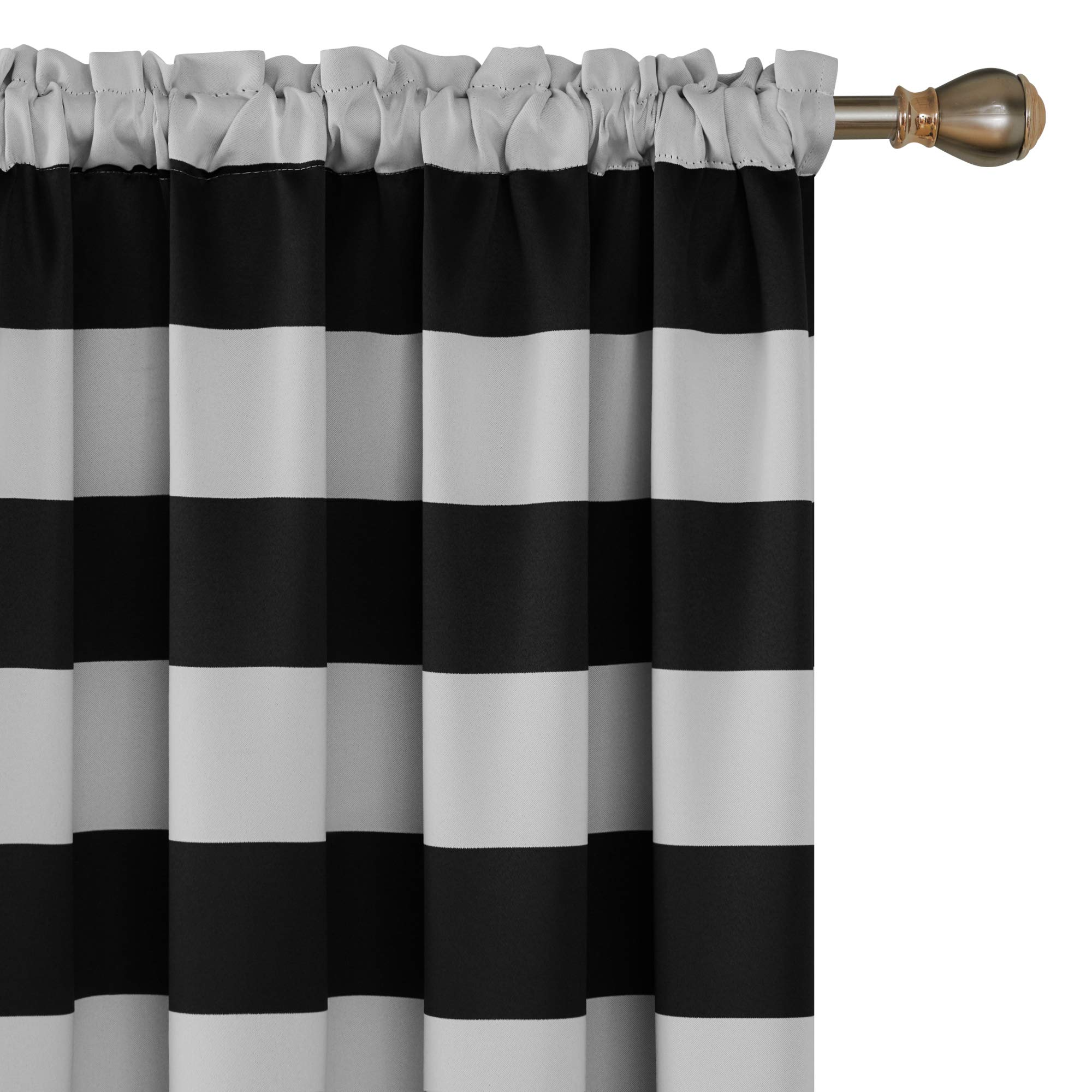 Amazon Com Deconovo Striped Room Darkening Curtains Rod Pocket Black And Greyish White Striped Curtains For Living Room 52w X 84l Black 2 Panel Curtains Home Kitchen