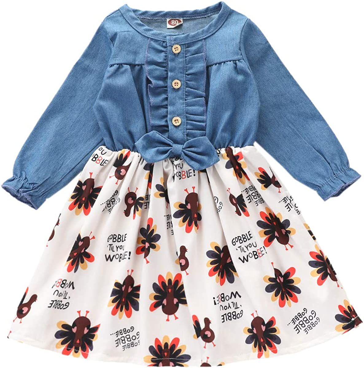 Luckinbaby Fashion Toddler Girls NEW before selling Thanksgiving Sleeve Long Outfit Ruflle