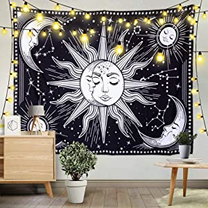 Wall Tapestry Black and White Tapestry Wall Hanging Sun and Moon Tapestry for Bedroom Mystic Wall Decor for Bedroom Aesthetic Wall Art,59