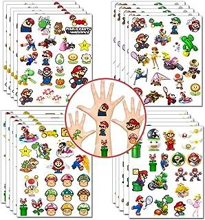 Mario Tijdelijke tatoeages Stickers Super Mario Feestartikelen Princess Peach Yoshi Cartoon Stickers voor meisjes Jongens ...