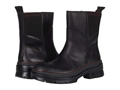 Timberland Malynn Waterproof Leather and Fabric Side-Zip Boot (Black Full Grain) Women