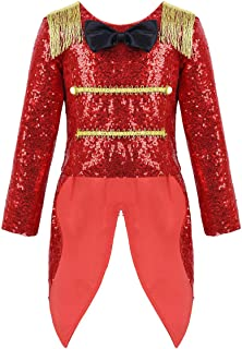Toddler Girls Boys Ringmaster Circus Costume Sequins Gentleman Texudo Tailcoat for Halloween Show