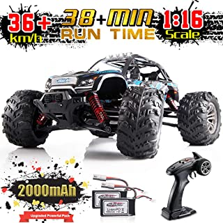 Soyee RC Cars for Boys IPX4 Waterproof 1:16 High Speed 36KM/h 4WD Off Road 2.4GHz Remote Control Monster Truck Dune Buggy Hobby RC Toys for Kids & Adults - 1000mAh Battery x2 for 38+mins Playing