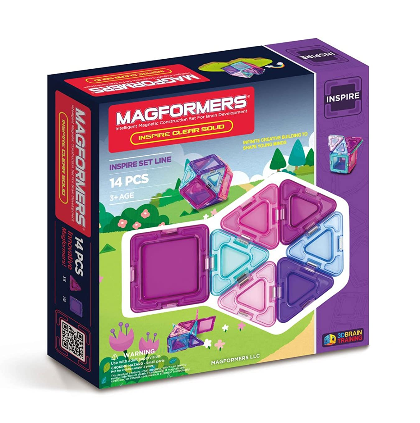 Magformers Inspire Solid Clear Set (14-pieces) Magnetic    Building      Blocks, Educational  Magnetic    Tiles Kit , Magnetic    Construction  STEM Set