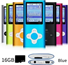 G.G.Martinsen Versatile MP3/MP4 Player with a 16GB Micro SD Card, Support Photo Viewer, Mini USB Port 1.8 LCD, Digital MP3 Player, MP4 Player, Video/Media/Music Player (Blue&White)