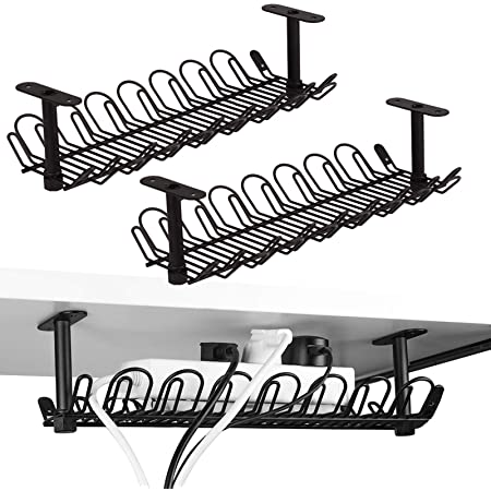 Lot de 2 plateaux de rangement organiseurs de câbles en métal lourd pour bureaux et cuisines, 35,5 cm