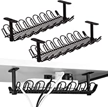 Under Desk Cable Management Tray 2 Packs, 36.5cm Under Desk Cord Organizer for Wire Management, Heavy Metal Wire Cable Tra...