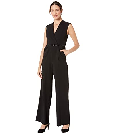 Calvin Klein Solid Belted Jumpsuit (Black) Women
