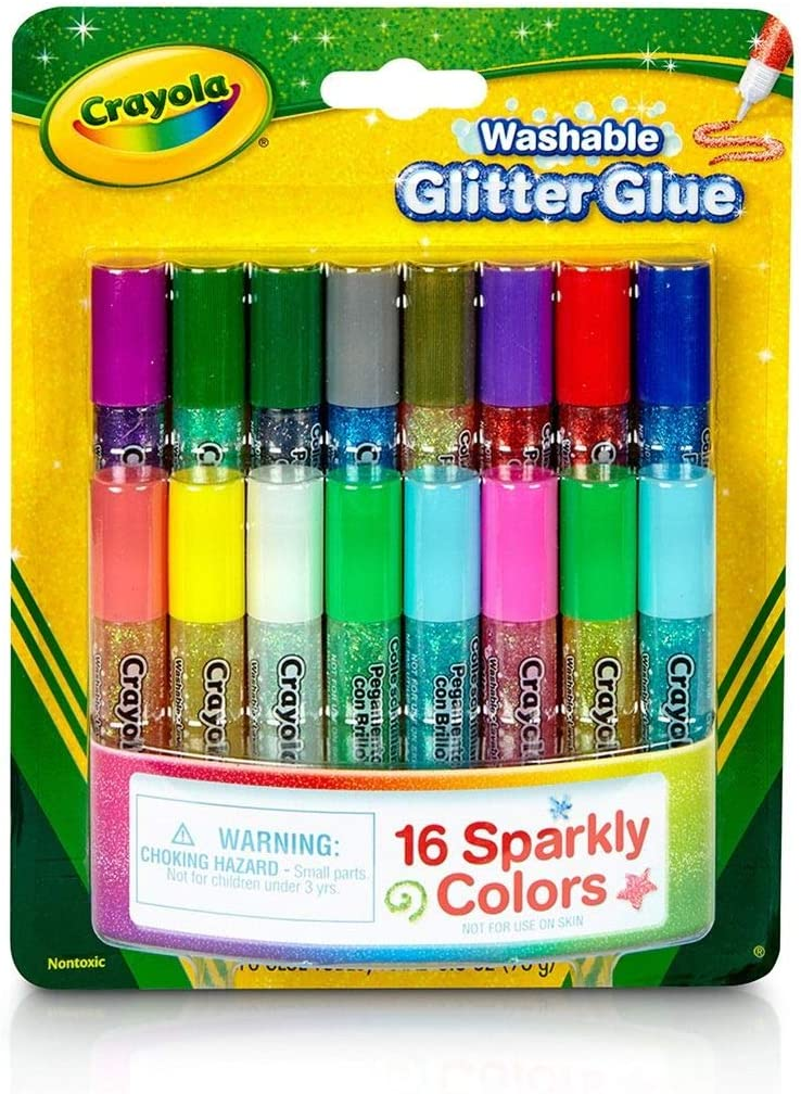 Crayola; Mini Washable Glitter Glue; Art Tools; 16 ct; 16 Sparkly Colors; Great for Arts and Crafts (3 Packs): Toys & Games