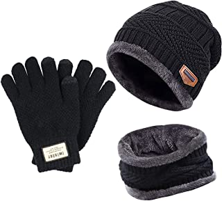 Fostoy Men's Winter Hat and Scarf Set, Winter Knit Warm Beanie Hat Soft Comfortable Hat Scarf Set for Men and Women with Fleece Lining (Black)