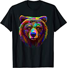 Abstract Multi-colored Portrait Of A Brown Bear Tee Shirt